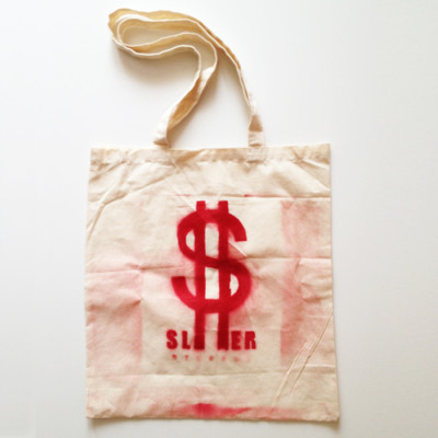slimer records shopper bag red